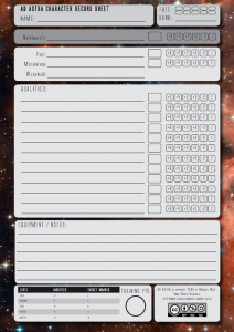Ad Astra sheet for the PDQ system