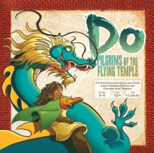 Cover for Dō: Pilgrims of the Flying Temple. A young girl with a cloak and large belt strap hangs onto the neck of a slender Asian-style dragon with a mane. The girl is looking down as if from a very high place. They both appear exhilarated.