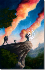 Explorers survey ruins in the distance. Art by Amy Ashbaugh.
