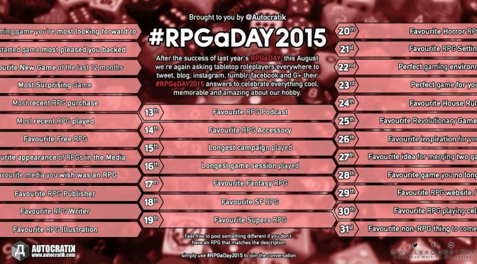 RPG a Day 2015 Challenge – Days 1, 2 and 3